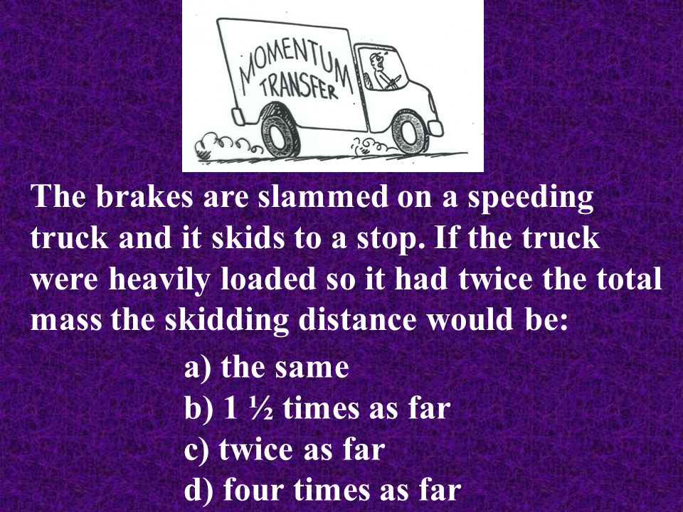 The brakes are slammed on a speeding truck and it skids to a stop