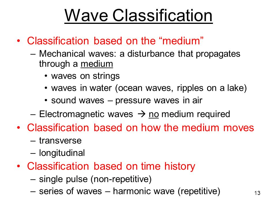 Wave Classification Classification based on the medium