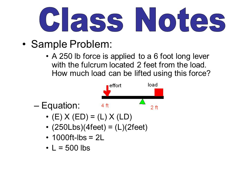 Class Notes Sample Problem: Equation: