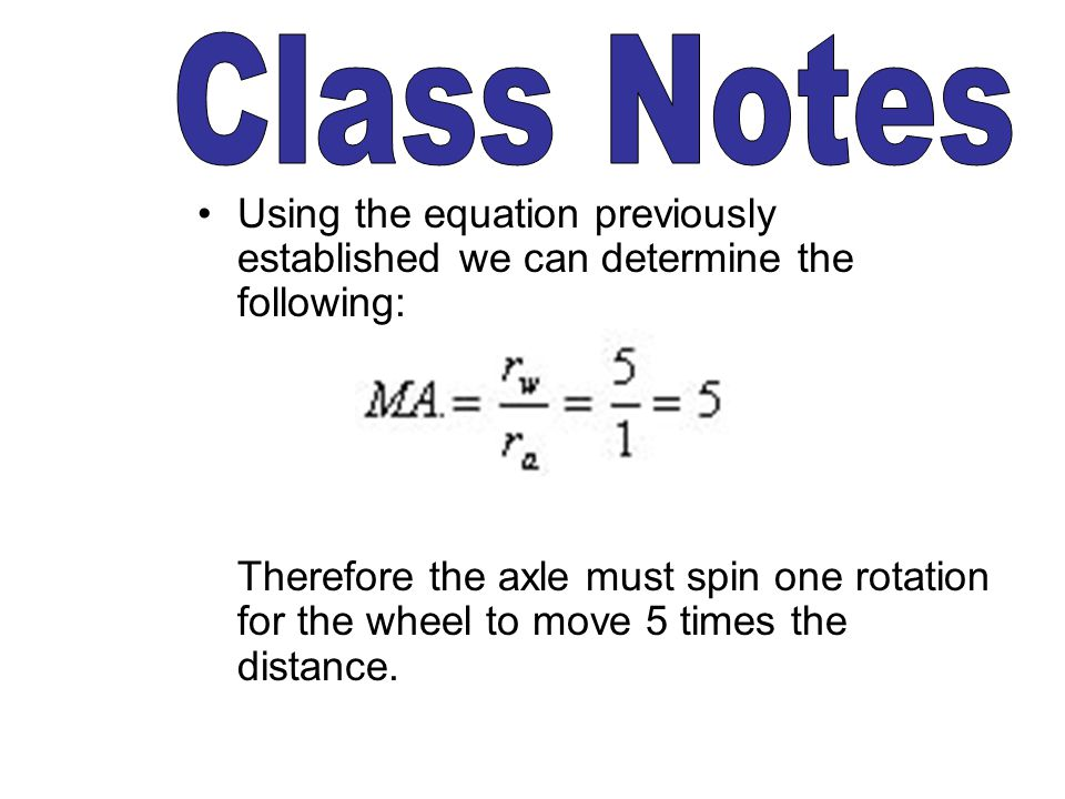 Class Notes Using the equation previously established we can determine the following: