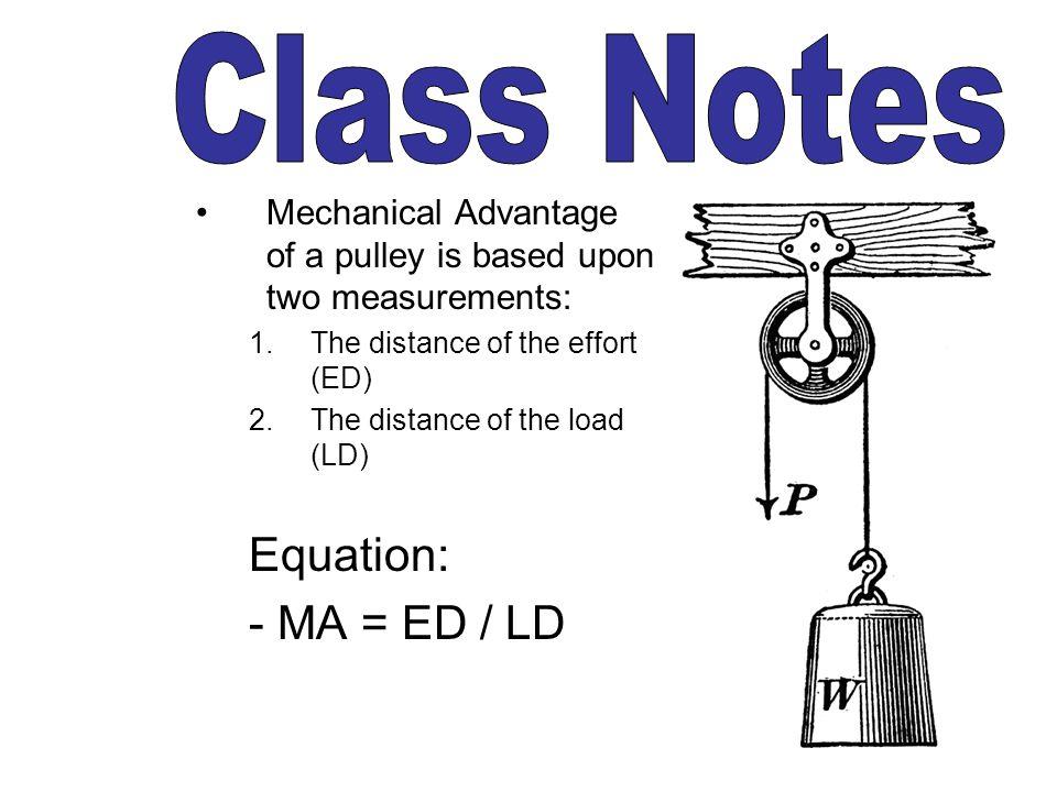 Class Notes Equation: - MA = ED / LD