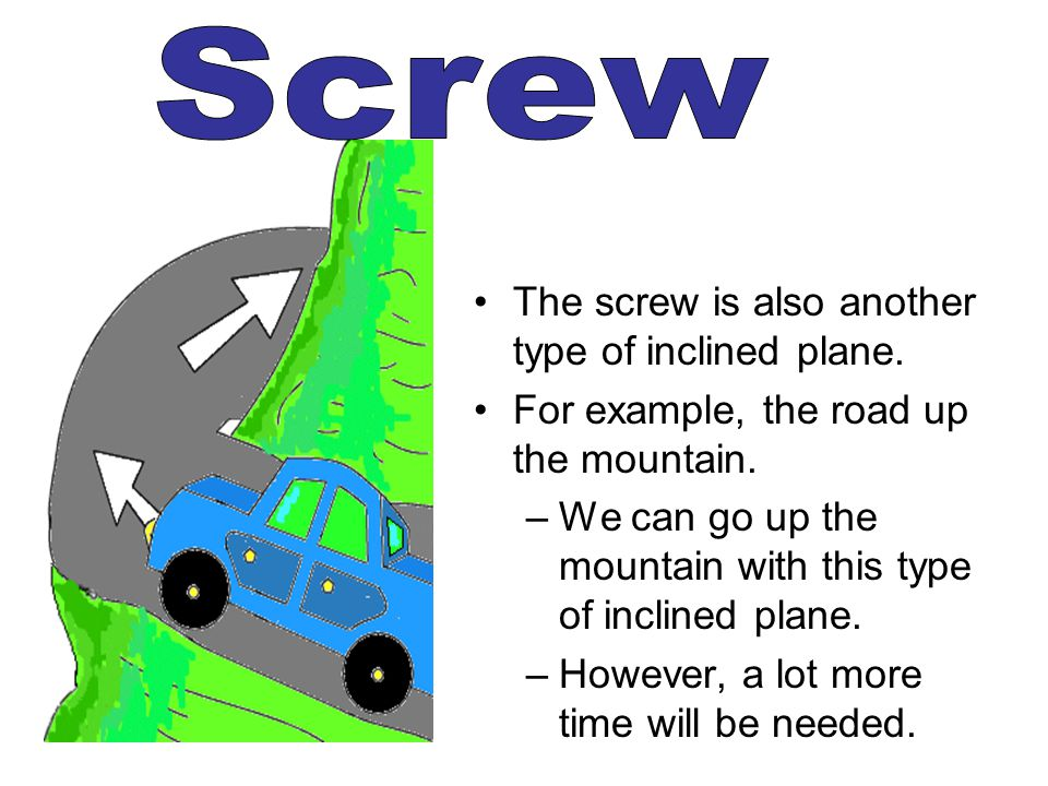 Screw The screw is also another type of inclined plane.