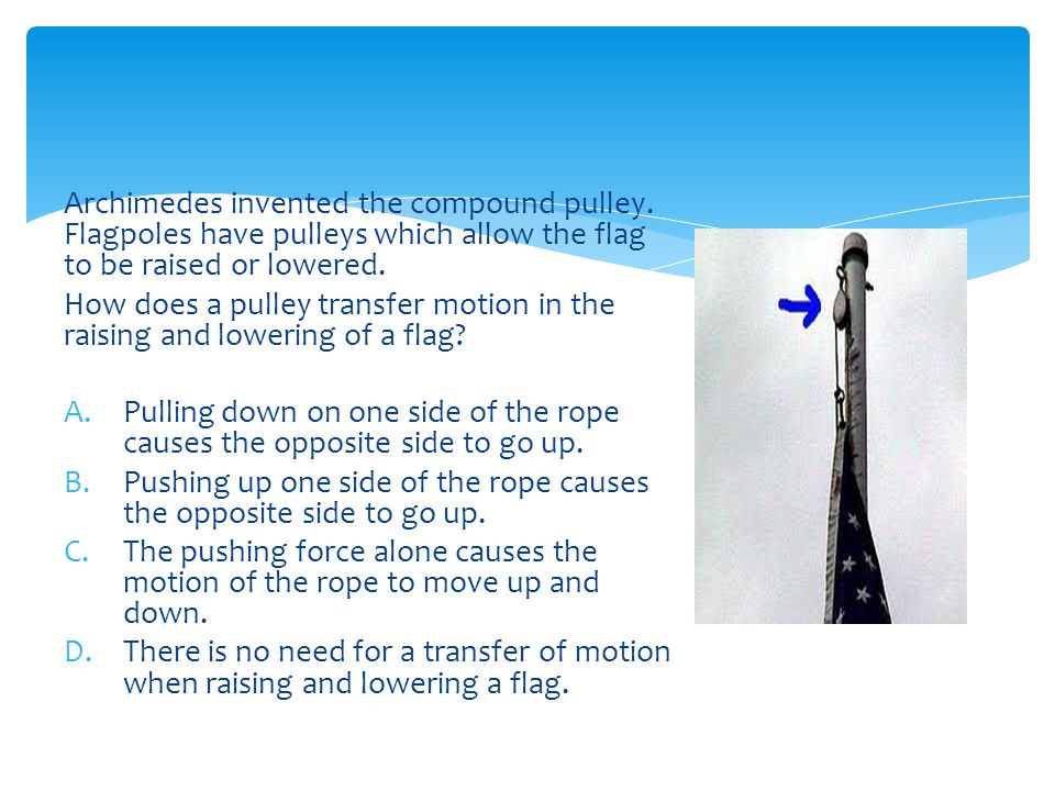 Archimedes invented the compound pulley