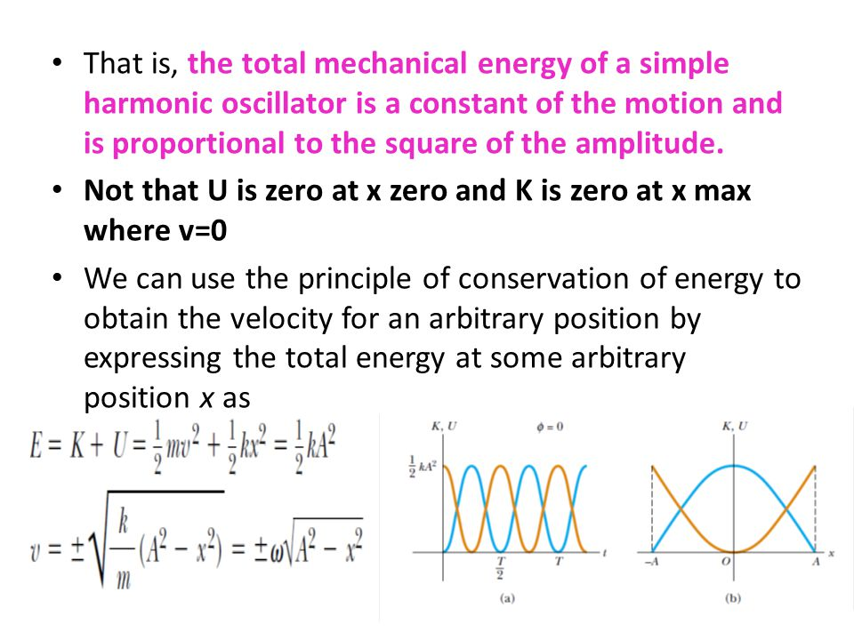 That is, the total mechanical energy of a simple harmonic oscillator is a constant of the motion and is proportional to the square of the amplitude.