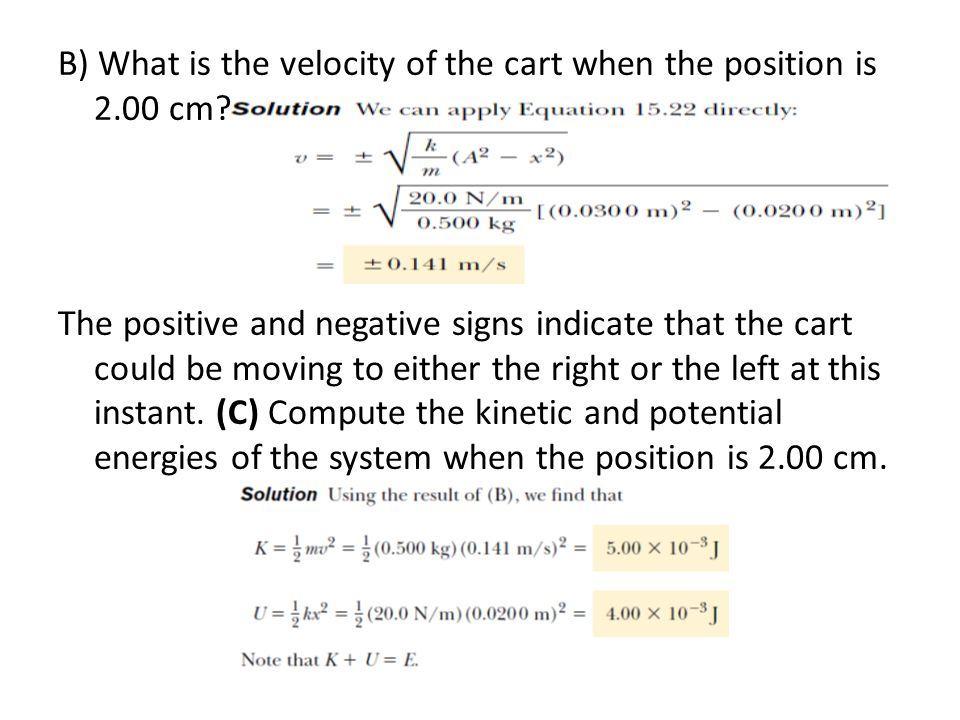B) What is the velocity of the cart when the position is 2. 00 cm