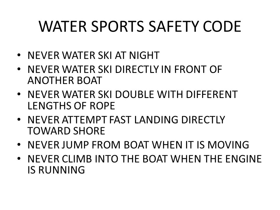 WATER SPORTS SAFETY CODE