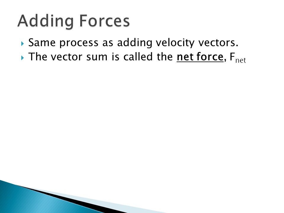 Adding Forces Same process as adding velocity vectors.