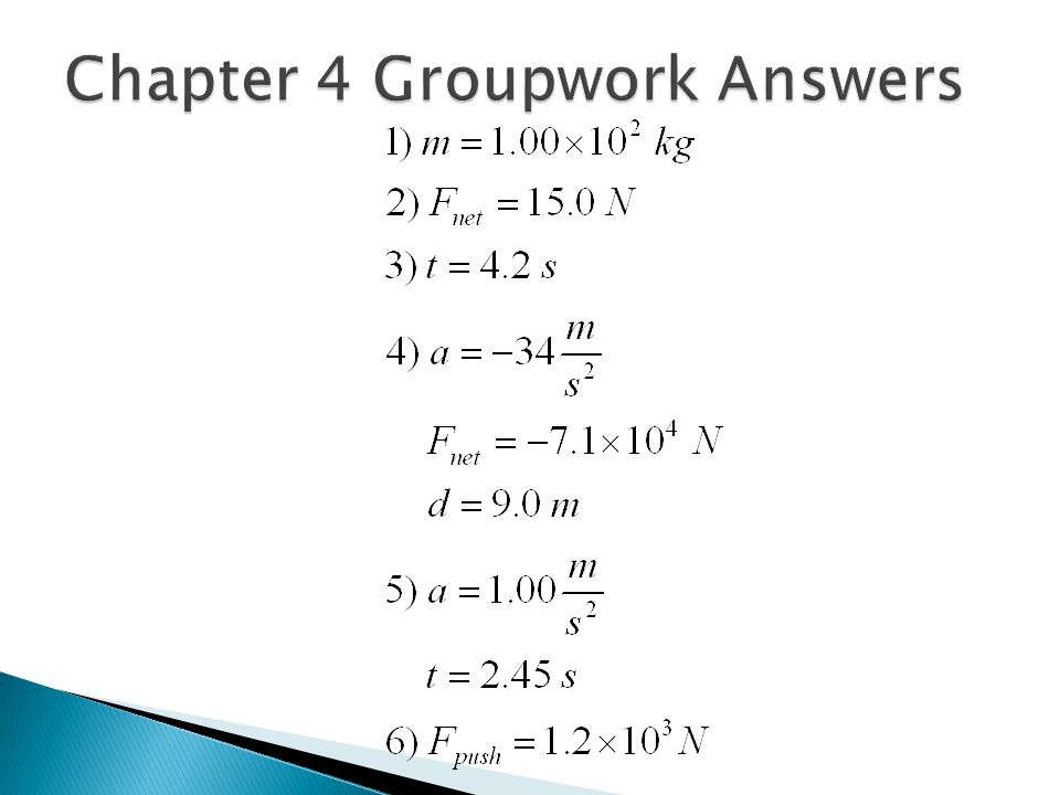 Chapter 4 Groupwork Answers
