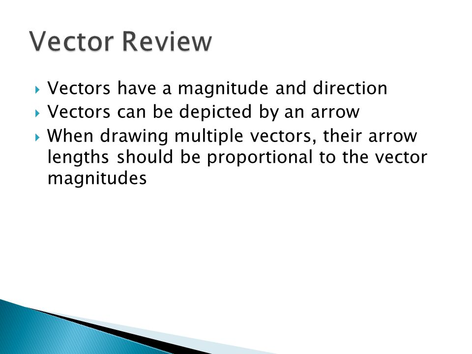 Vector Review Vectors have a magnitude and direction