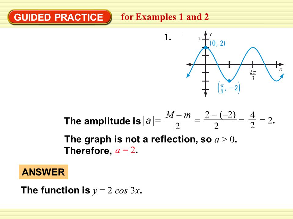 GUIDED PRACTICE for Examples 1 and 2. 1. a. M – m. 2. = 2 – (–2) 2. = 4. 2. = The amplitude is.