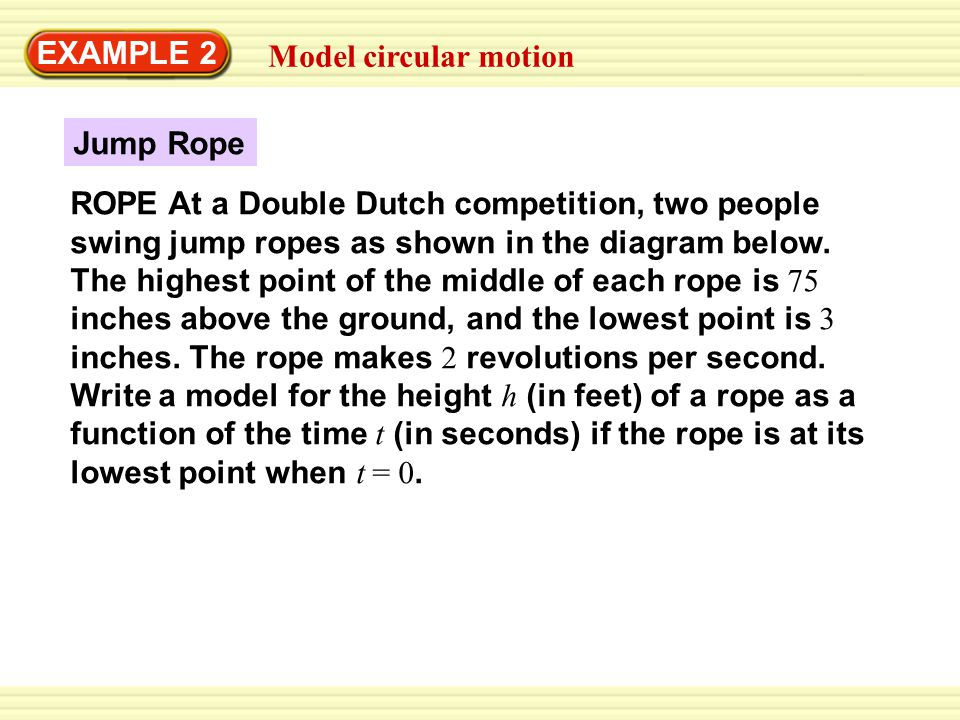 EXAMPLE 2 Model circular motion. Jump Rope.