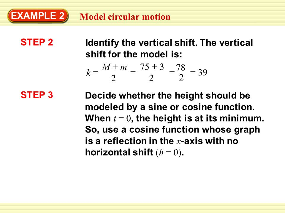 EXAMPLE 2 Model circular motion. STEP 2. Identify the vertical shift. The vertical shift for the model is: