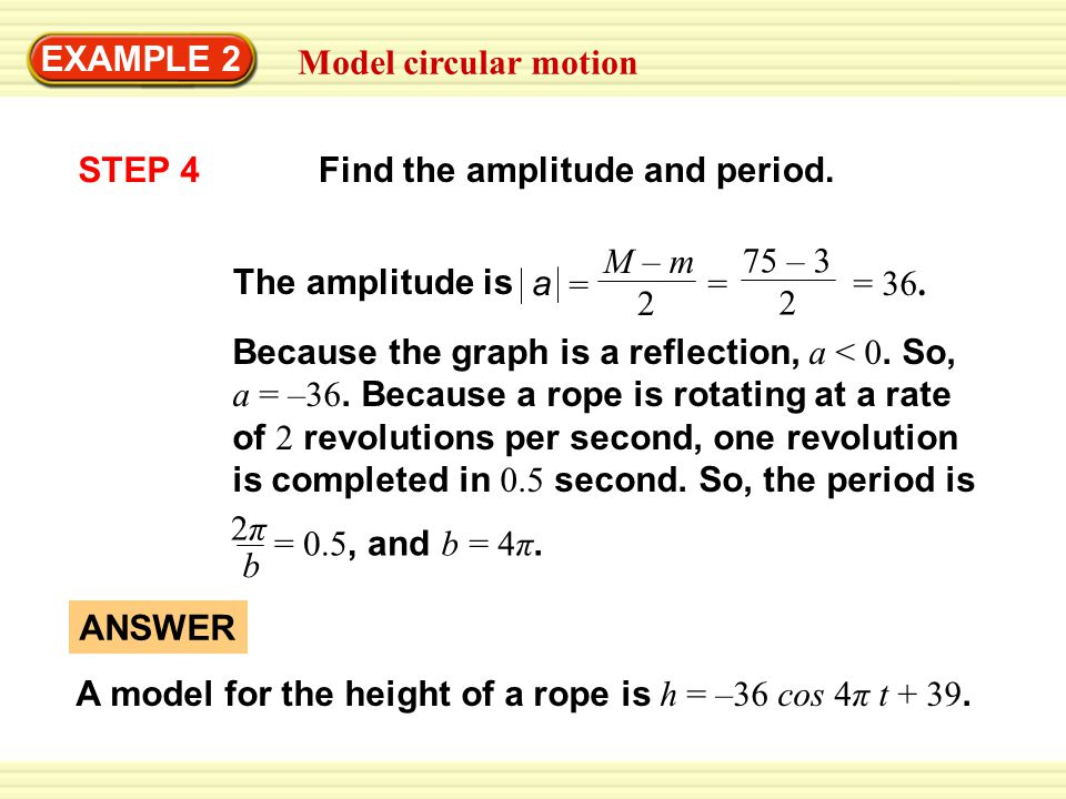 EXAMPLE 2 Model circular motion. STEP 4. Find the amplitude and period. a. M – m. 2. = 75 – 3.