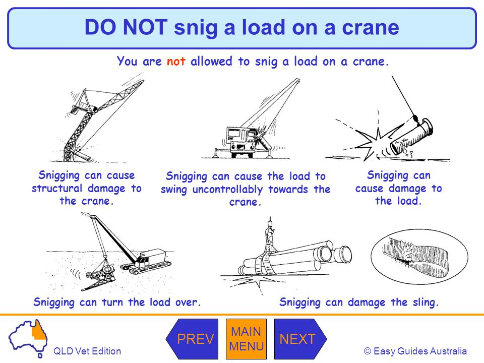 DO NOT snig a load on a crane