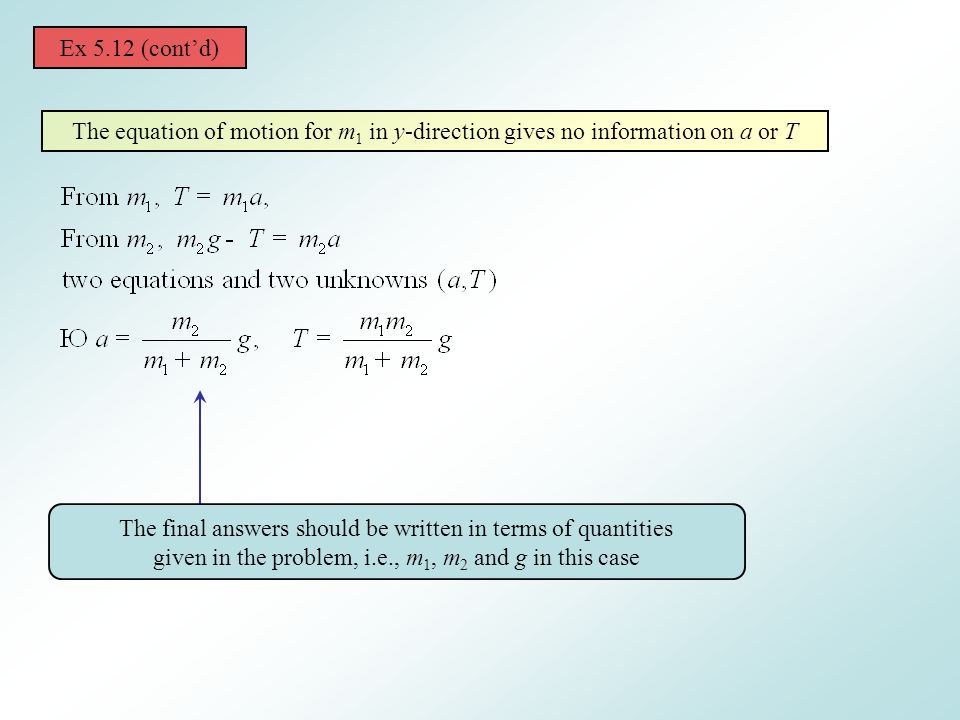 Ex 5.12 (cont'd) The equation of motion for m1 in y-direction gives no information on a or T.