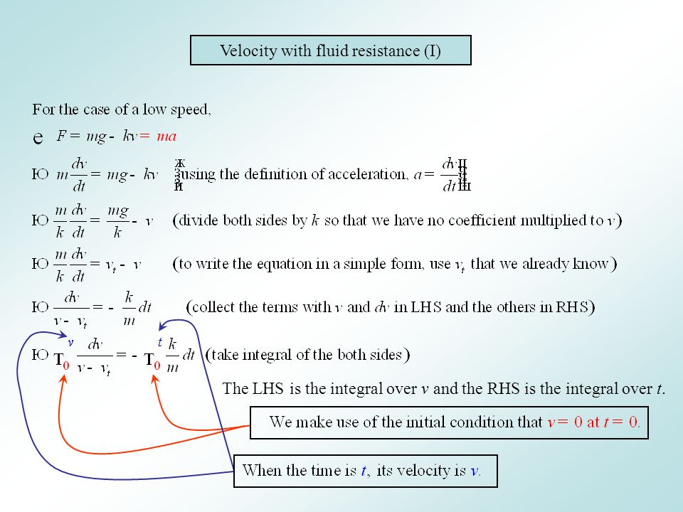 Velocity with fluid resistance (I)