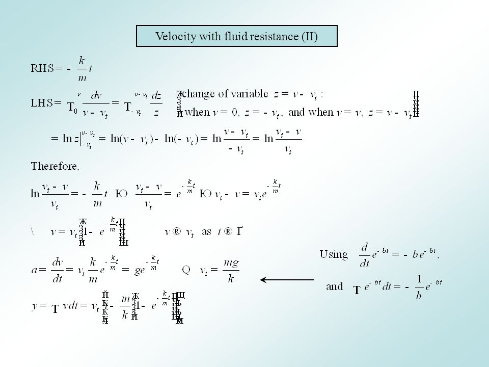 Velocity with fluid resistance (II)