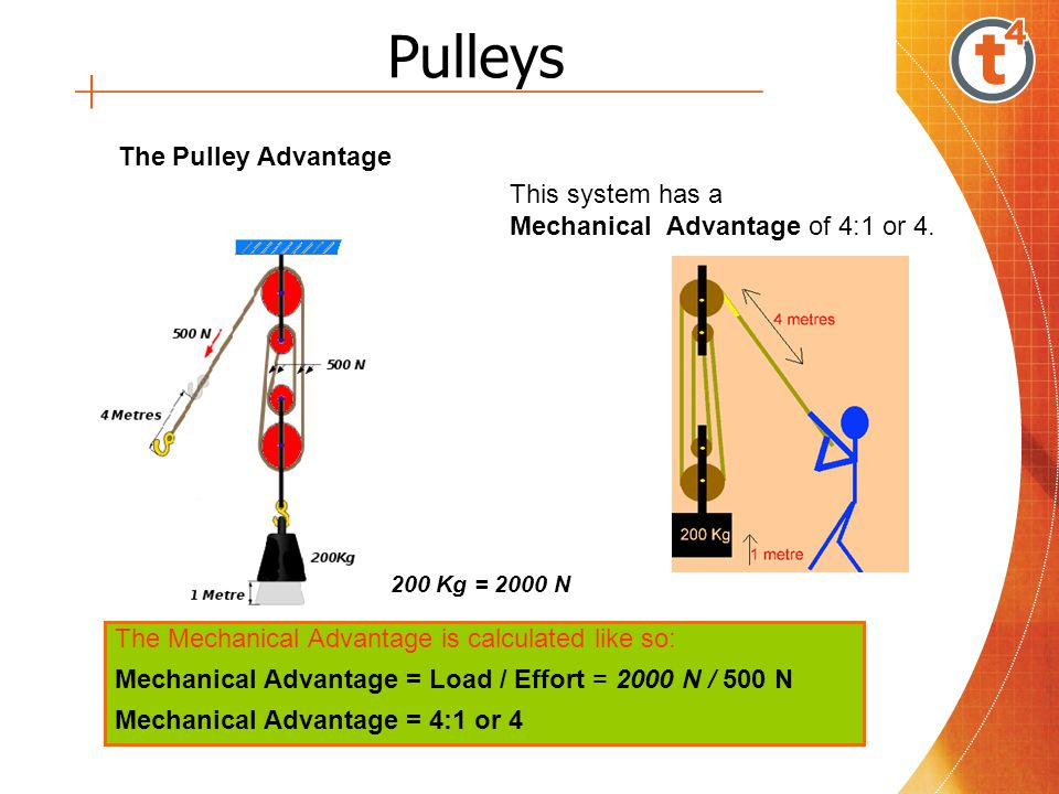 Pulleys The Pulley Advantage This system has a