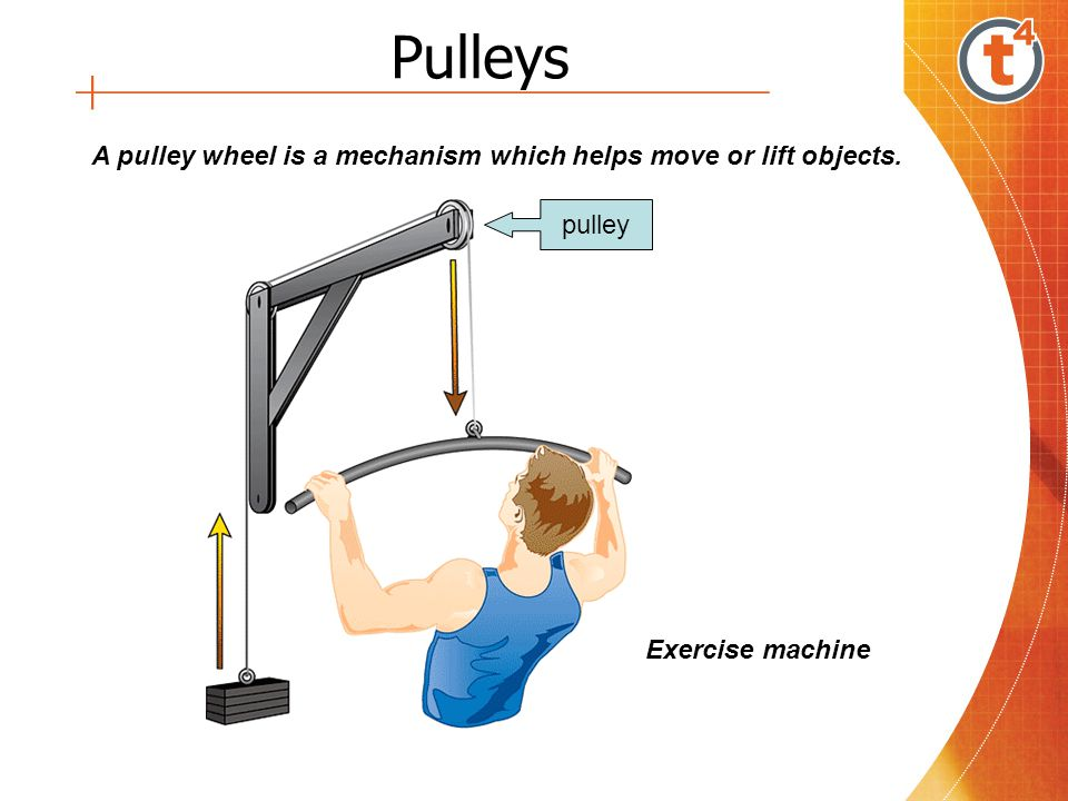 Pulleys A pulley wheel is a mechanism which helps move or lift objects. pulley Exercise machine