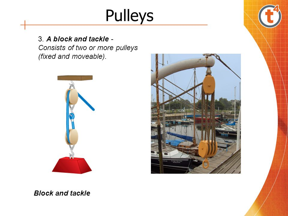 Pulleys 3. A block and tackle - Consists of two or more pulleys (fixed and moveable).