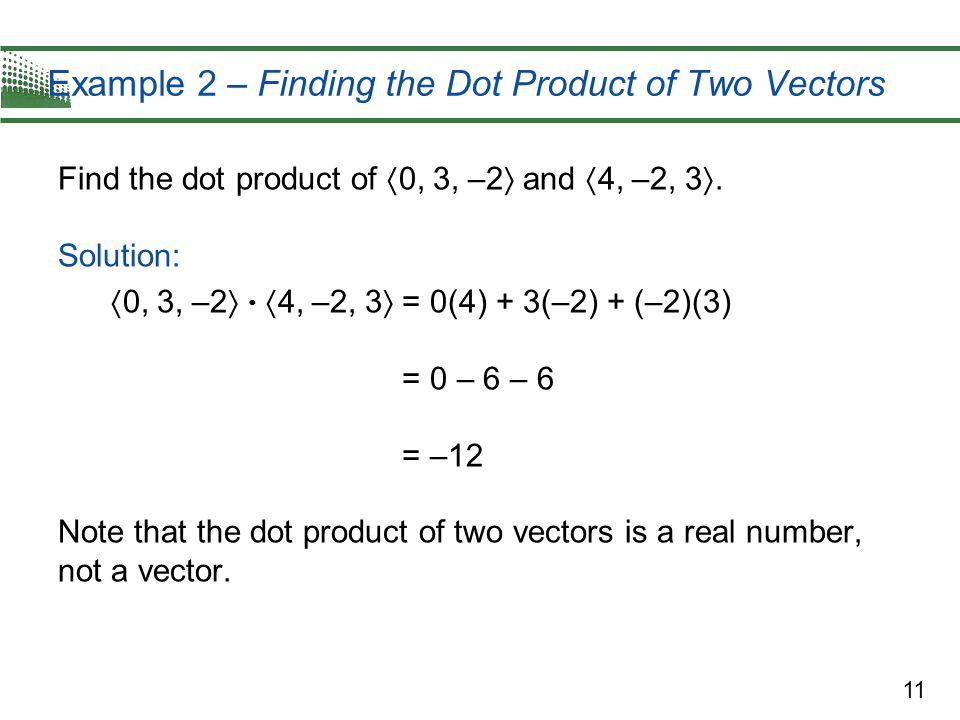 Example 2 – Finding the Dot Product of Two Vectors