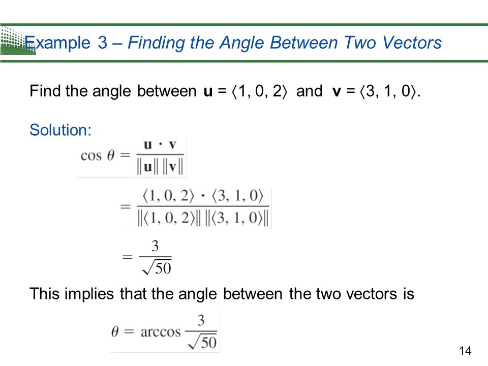 Example 3 – Finding the Angle Between Two Vectors