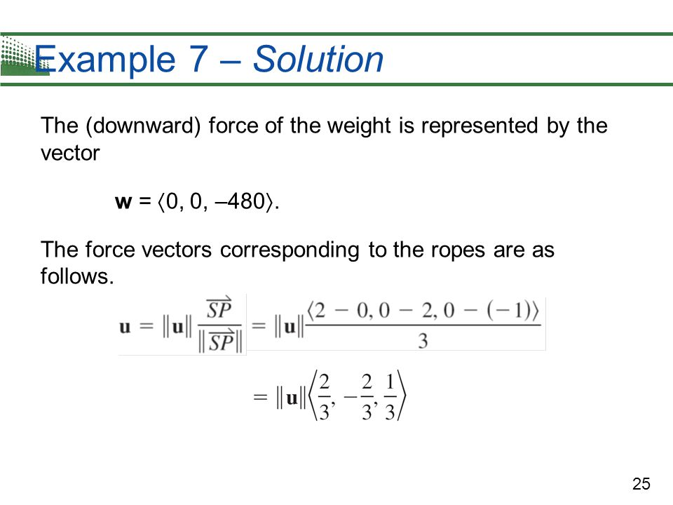 Example 7 – Solution The (downward) force of the weight is represented by the vector. w = 0, 0, –480.