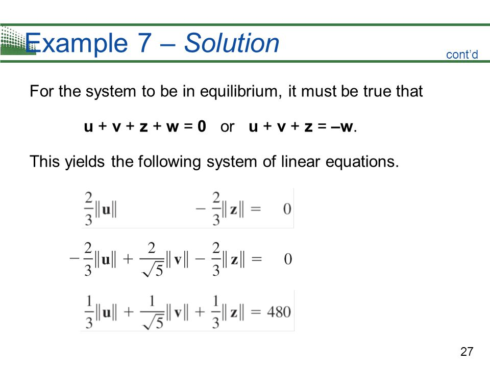 Example 7 – Solution cont'd. For the system to be in equilibrium, it must be true that. u + v + z + w = 0 or u + v + z = –w.