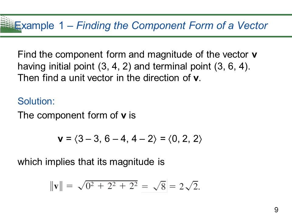 Example 1 – Finding the Component Form of a Vector