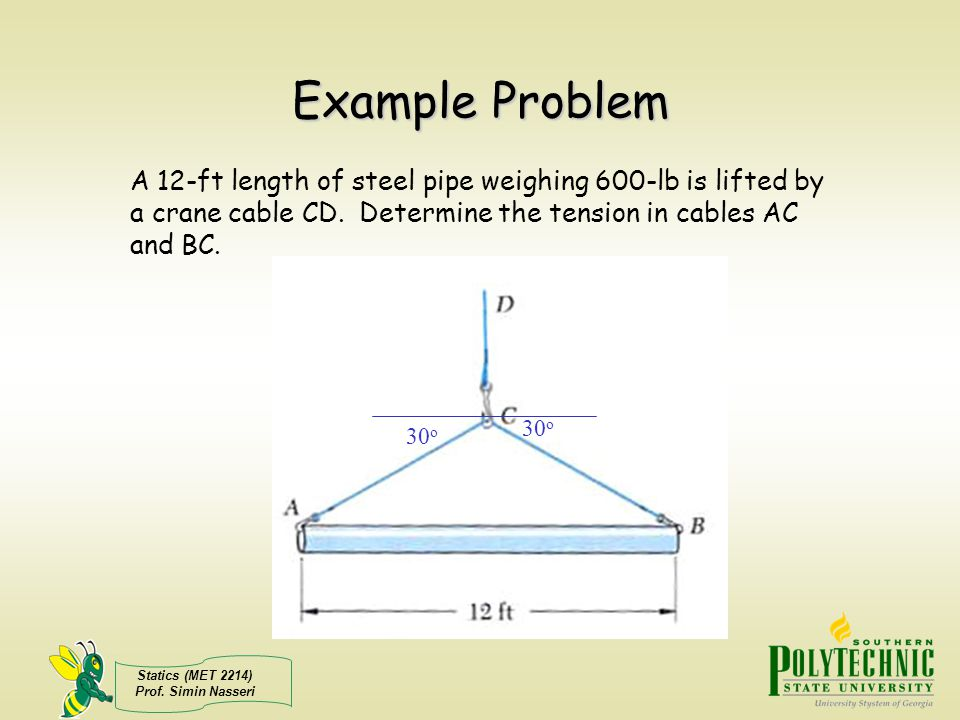 Example Problem A 12-ft length of steel pipe weighing 600-lb is lifted by a crane cable CD. Determine the tension in cables AC and BC.