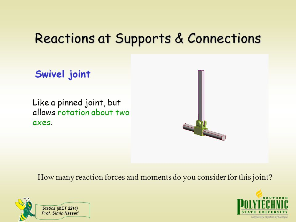 Reactions at Supports & Connections