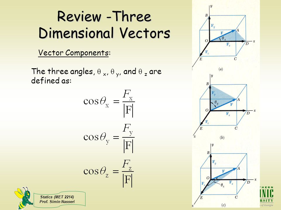 Review -Three Dimensional Vectors