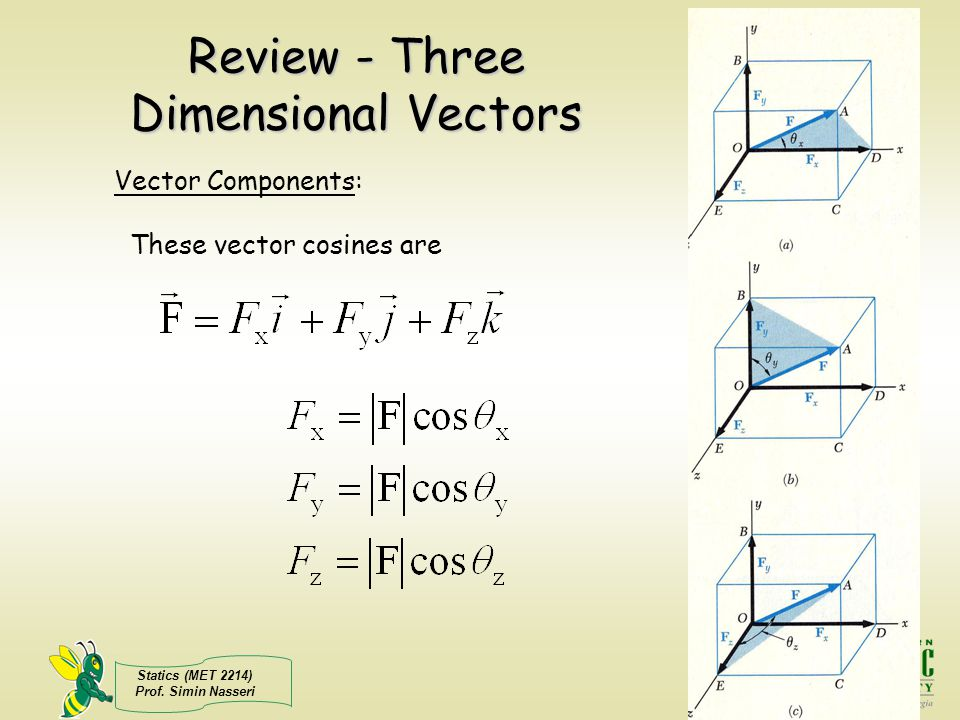 Review - Three Dimensional Vectors