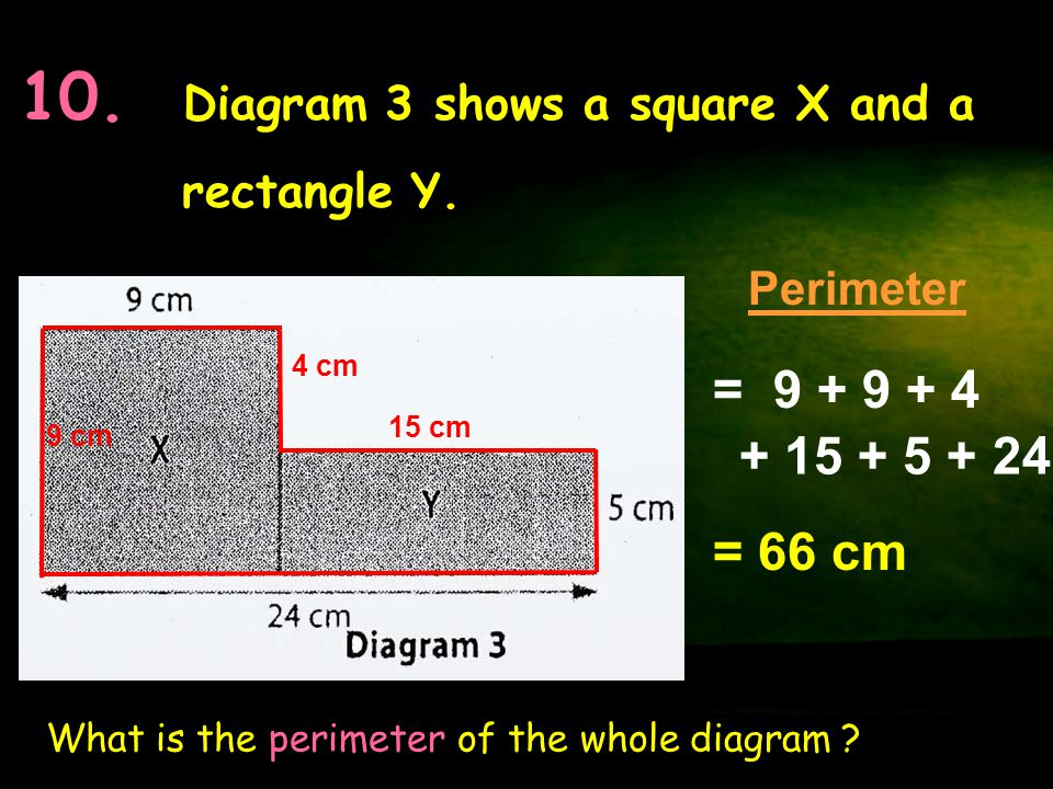 10. Diagram 3 shows a square X and a