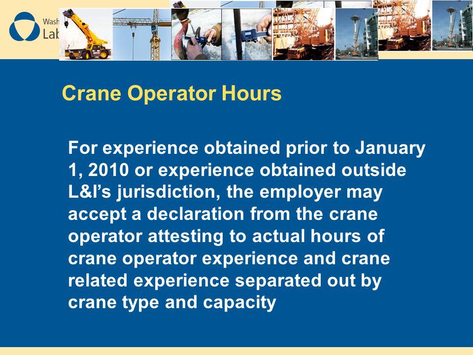 Crane Operator Hours