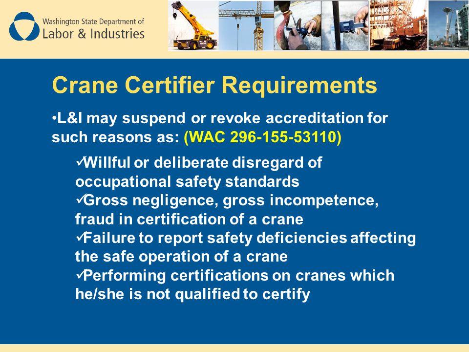 Crane Certifier Requirements
