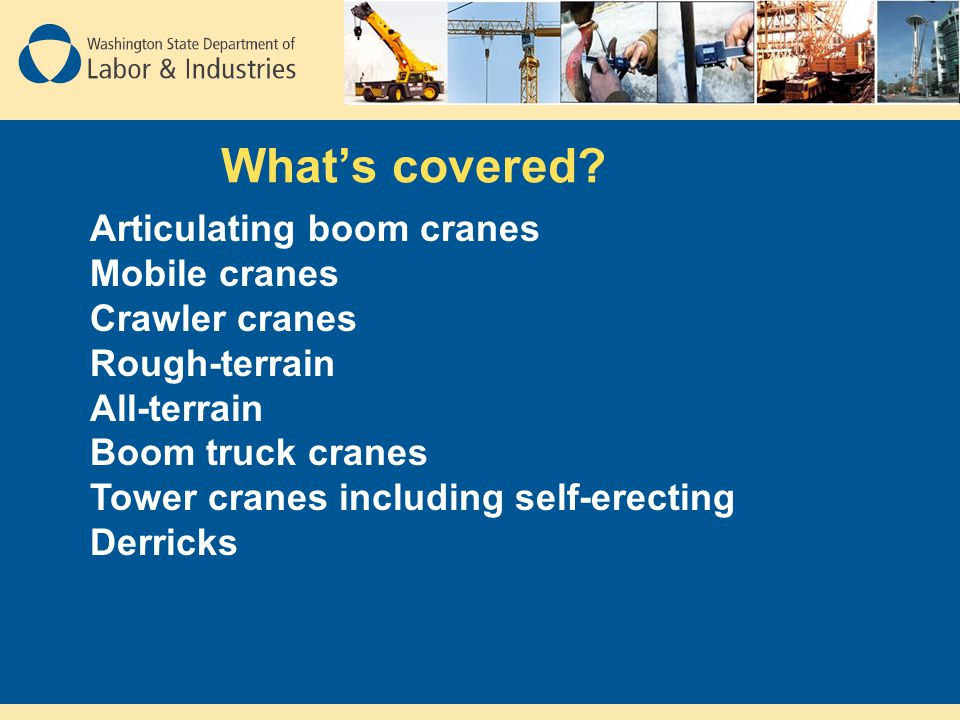 What's covered Articulating boom cranes Mobile cranes Crawler cranes