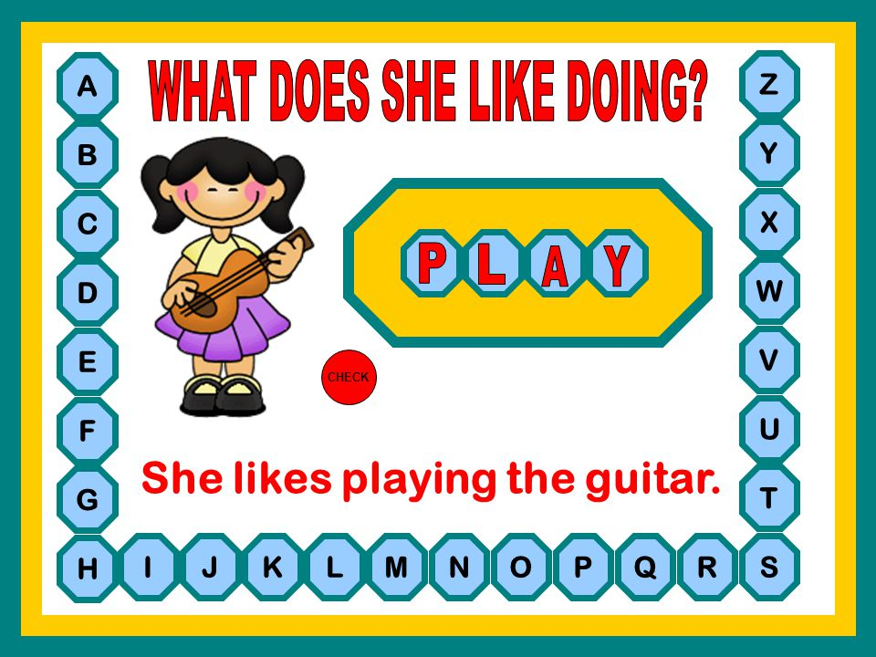 She likes playing the guitar.