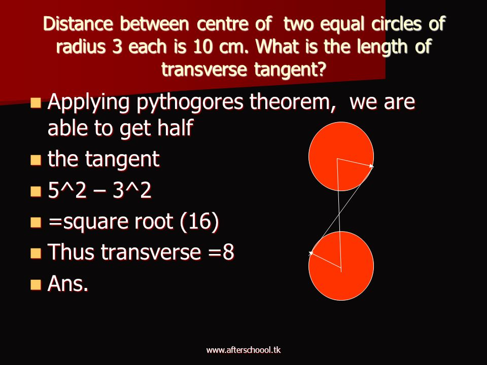 Applying pythogores theorem, we are able to get half the tangent