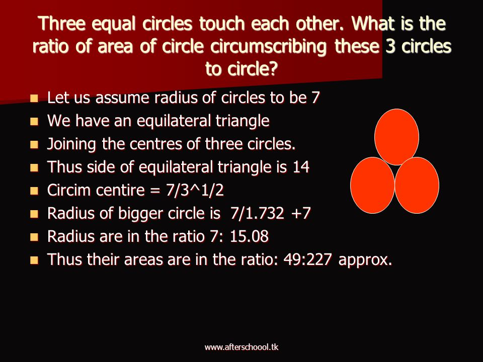 Three equal circles touch each other