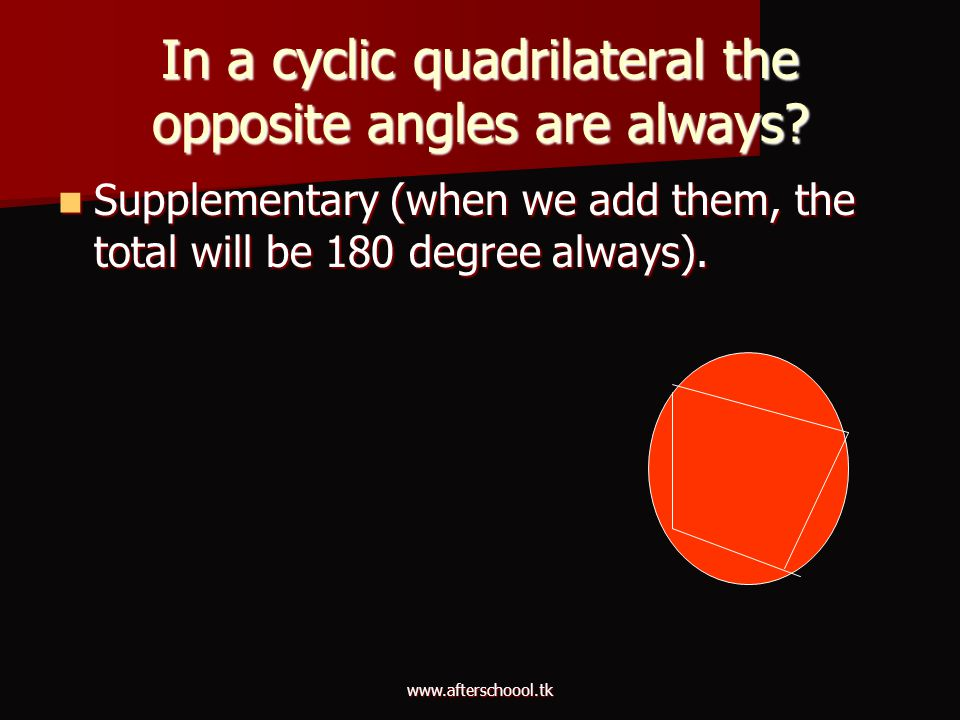 In a cyclic quadrilateral the opposite angles are always
