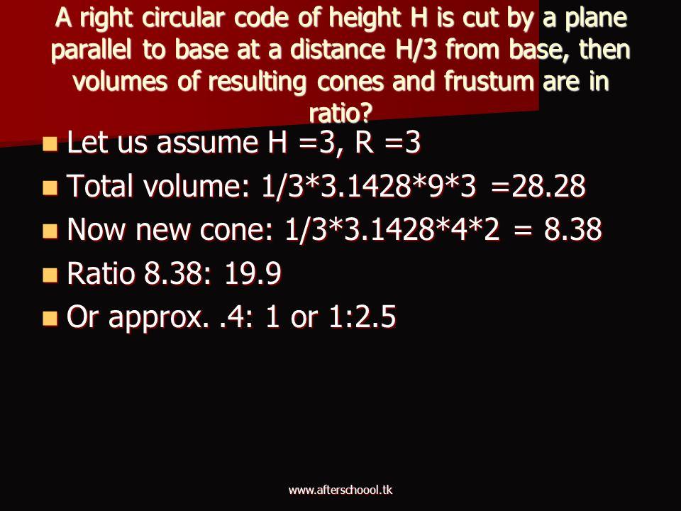 Let us assume H =3, R =3 Total volume: 1/3*3.1428*9*3 =28.28