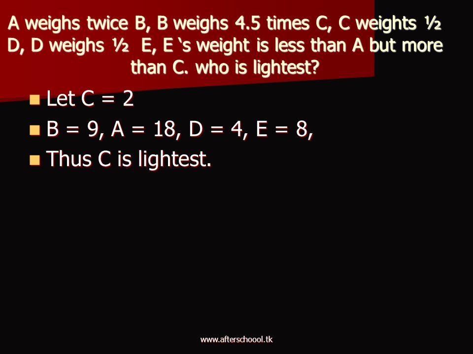 Let C = 2 B = 9, A = 18, D = 4, E = 8, Thus C is lightest.