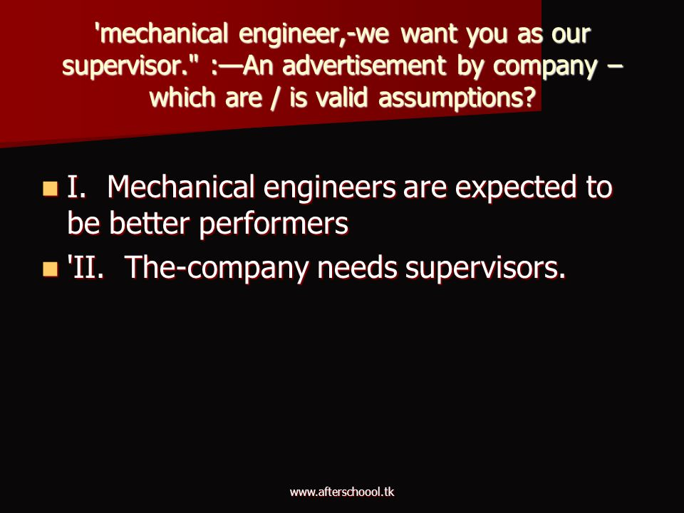 I. Mechanical engineers are expected to be better performers