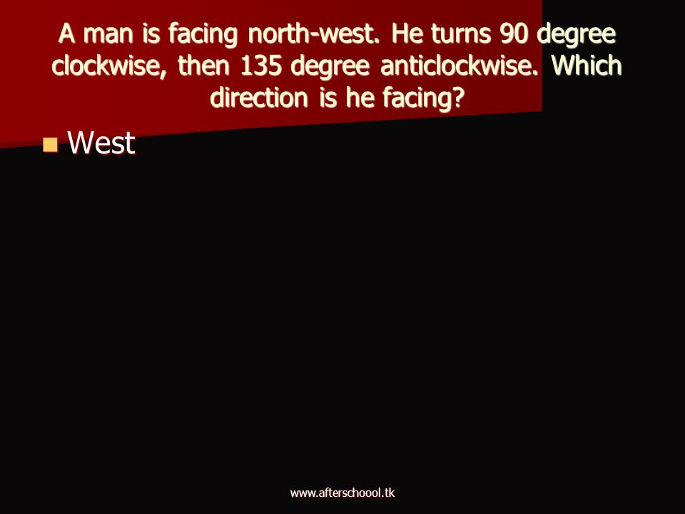 A man is facing north-west