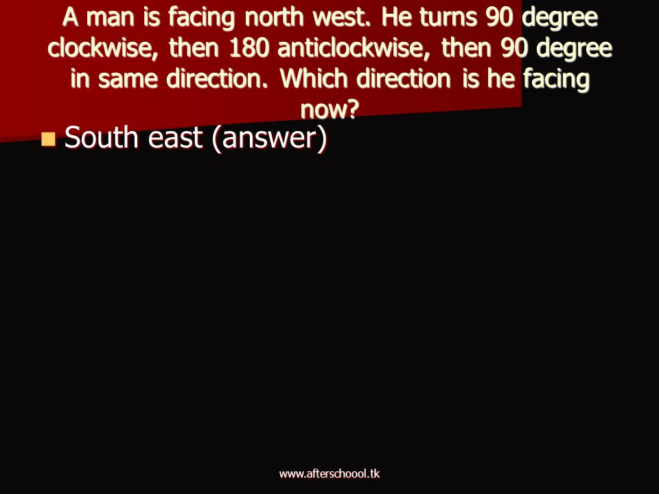 A man is facing north west