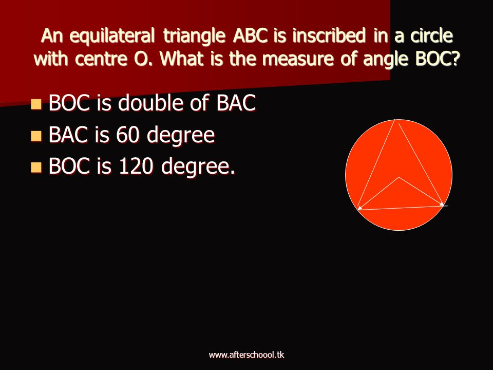 BOC is double of BAC BAC is 60 degree BOC is 120 degree.
