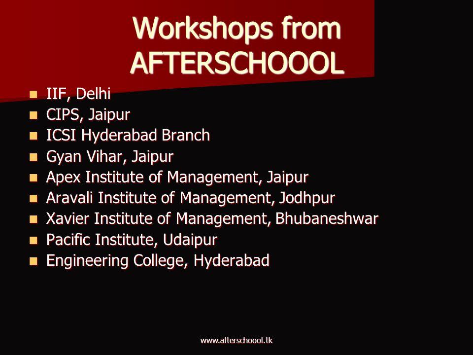 Workshops from AFTERSCHOOOL