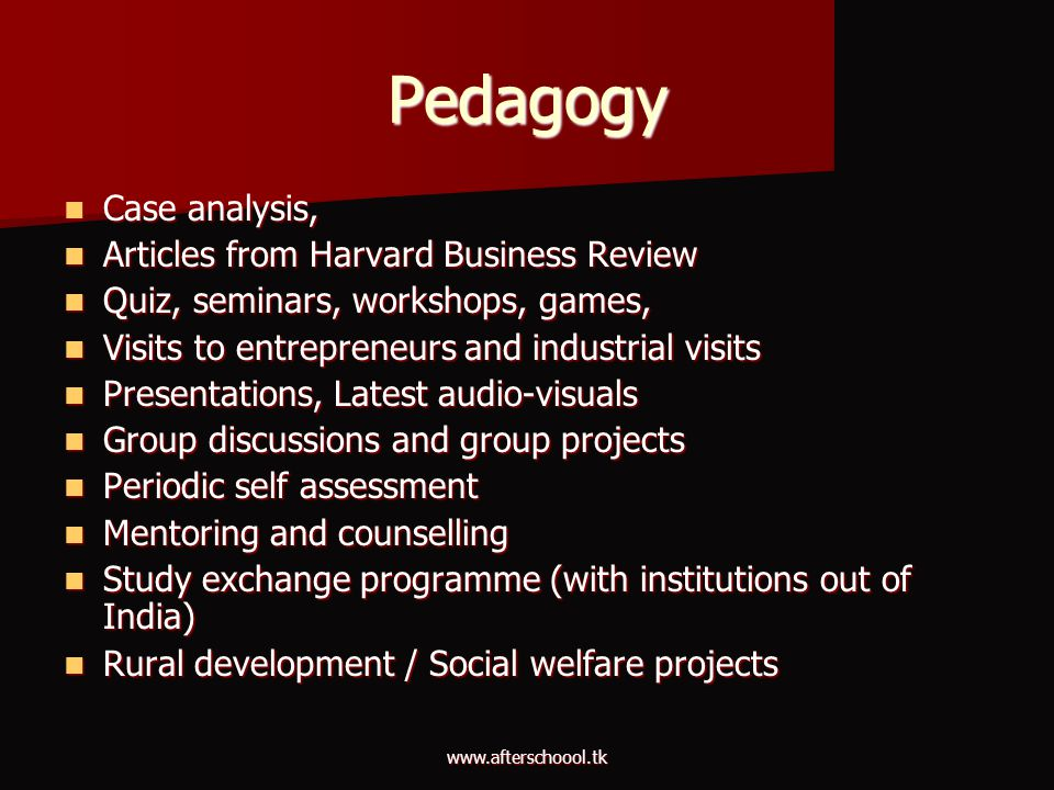 Pedagogy Case analysis, Articles from Harvard Business Review