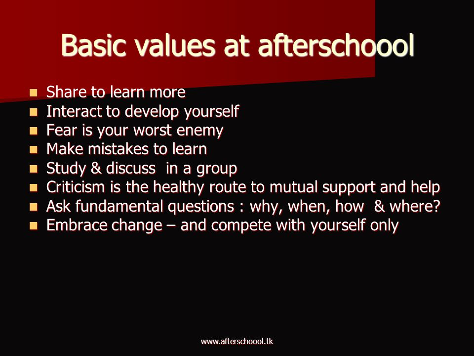 Basic values at afterschoool